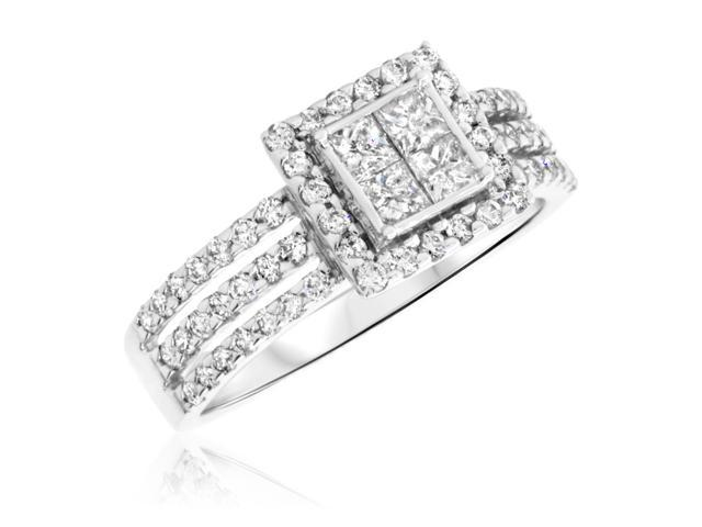 1 Carat T.W. Princess, Round Cut Diamond Ladies Engagement Ring 14K White Gold-