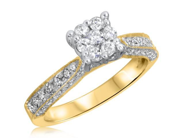 3/4 CT. T.W. Diamond Ladies Engagement Ring 10K Yellow Gold- Size 12.75