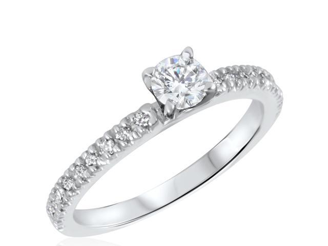 1/2 CT. T.W. Diamond Ladies Engagement Ring 14K White Gold- Size 4