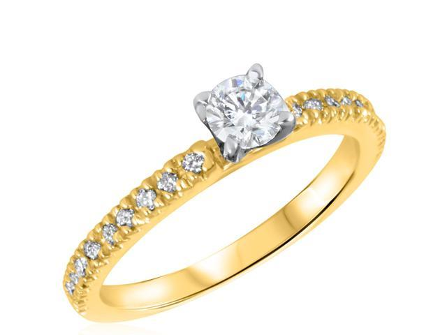 1/2 CT. T.W. Diamond Ladies Engagement Ring 14K Yellow Gold- Size 3.75