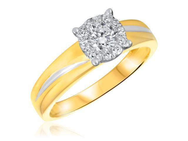 3/8 CT. T.W. Diamond Ladies Engagement Ring 14K Yellow Gold- Size 10.5
