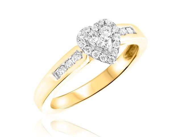 1/2 CT. T.W. Diamond Ladies Engagement Ring 14K Yellow Gold- Size 9.5