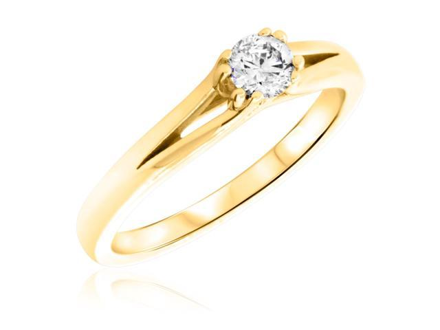 1/4 Carat T.W. Round Cut Diamond Ladies Engagement Ring 10K Yellow Gold- Size