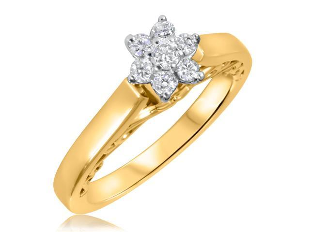 1/4 CT. T.W. Diamond Ladies Engagement Ring 14K Yellow Gold- Size 10.5