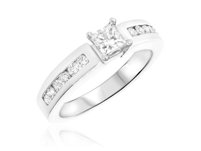 7/8 CT. T.W. Diamond Ladies Engagement Ring 10K White Gold- Size 9.75