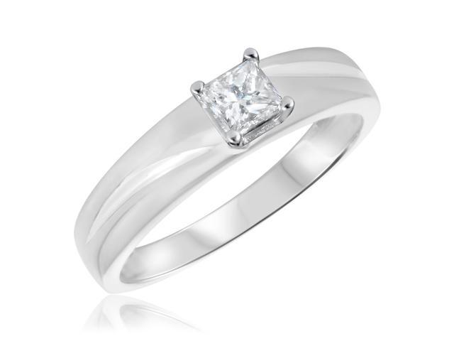 1/3 CT. T.W. Diamond Ladies Engagement Ring 10K White Gold- Size 8.5