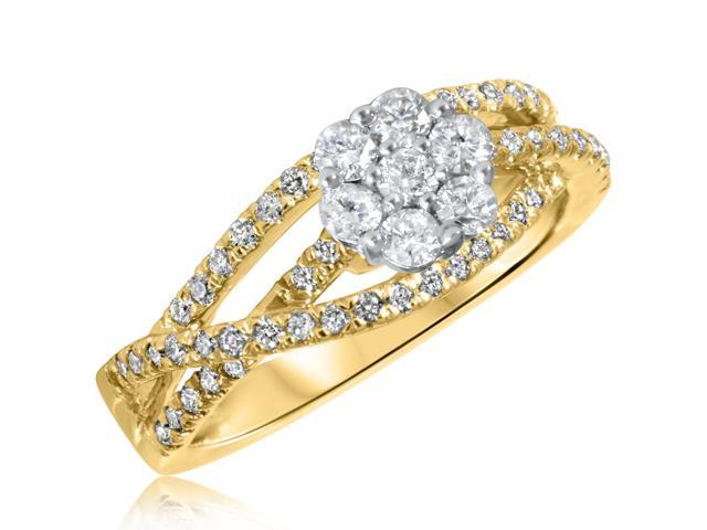 5/8 CT. T.W. Diamond Ladies Engagement Ring 10K Yellow Gold- Size 13