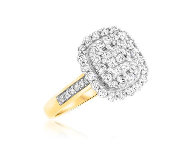 7/8 Carat T.W. Princess, Round Cut Diamond Ladies Engagement Ring 14K Yellow