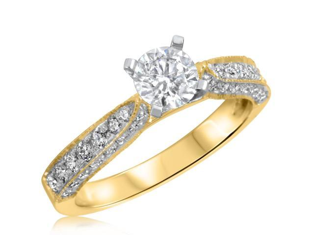 1 CT. T.W. Diamond Ladies Engagement Ring 10K Yellow Gold- Size 7.5