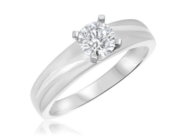 1/2 CT. T.W. Diamond Ladies Engagement Ring 14K White Gold- Size 9.5