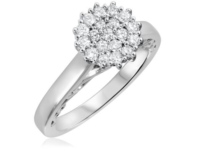 1/2 CT. T.W. Diamond Ladies Engagement Ring 14K White Gold- Size 10.5