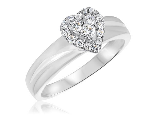 1/4 CT. T.W. Diamond Ladies Engagement Ring 14K White Gold- Size 8.5