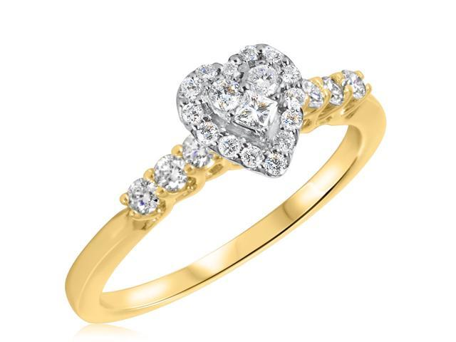 3/8 CT. T.W. Diamond Ladies Engagement Ring 10K Yellow Gold- Size 3