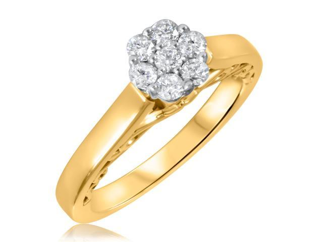 1/3 CT. T.W. Diamond Ladies Engagement Ring 14K Yellow Gold- Size 12.25
