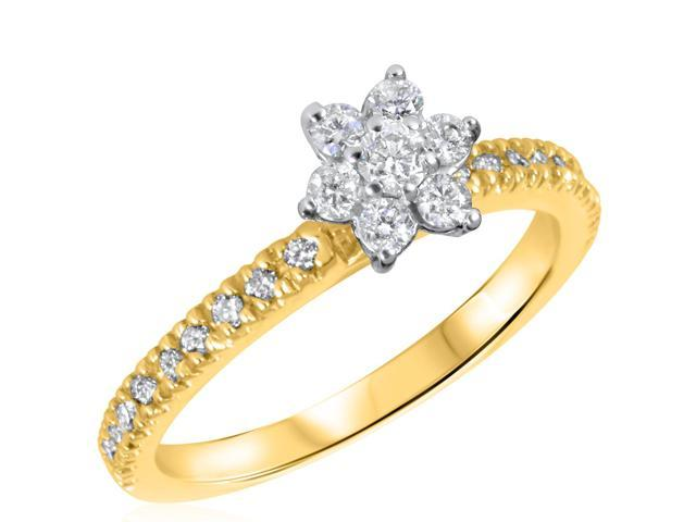 1/2 CT. T.W. Diamond Ladies Engagement Ring 14K Yellow Gold- Size 4.75