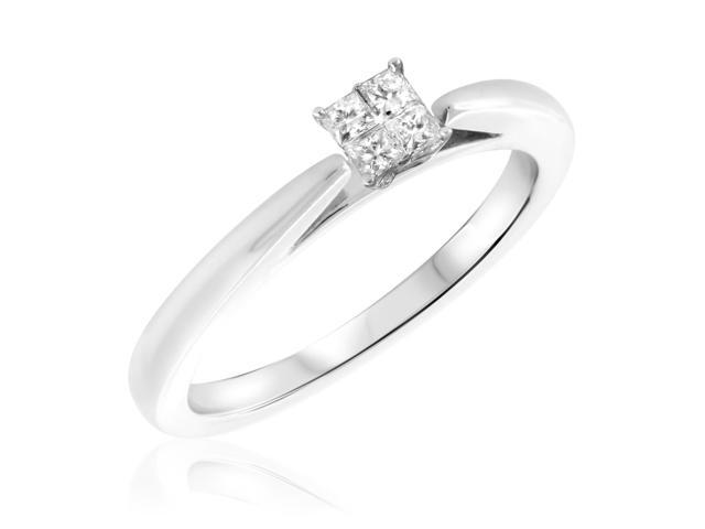 1/4 CT. T.W. Diamond Ladies Engagement Ring 10K White Gold- Size 10.5