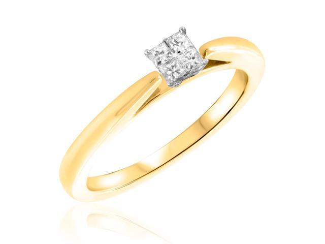 1/4 CT. T.W. Diamond Ladies Engagement Ring 14K Yellow Gold- Size 12.5