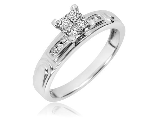 1/3 CT. T.W. Princess, Round Cut Diamond Ladies Engagement Ring 10K White Gold-