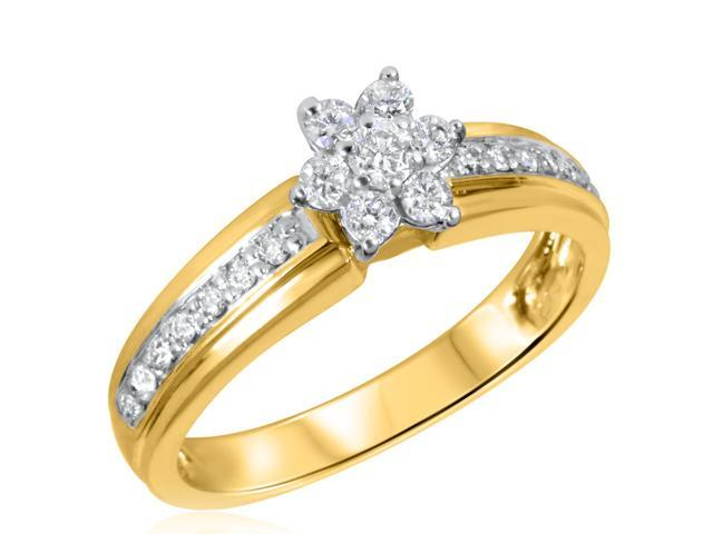 3/8 CT. T.W. Diamond Ladies Engagement Ring 10K Yellow Gold- Size 8.25