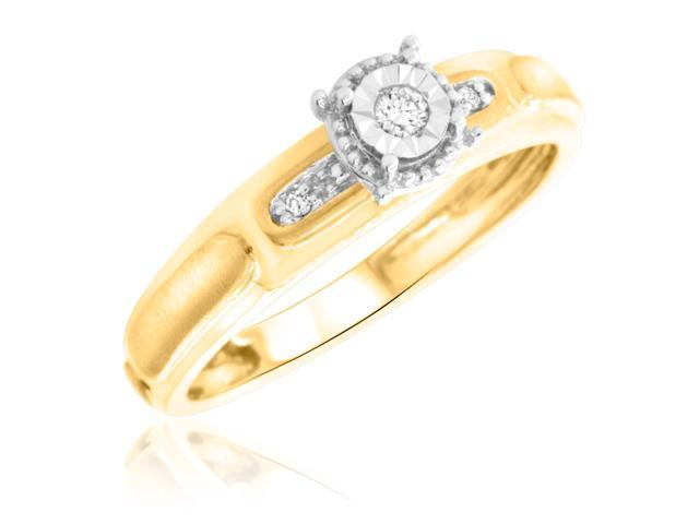 1/20 Carat T.W. Round Cut Diamond Ladies Engagement Ring 14K Yellow Gold- Size