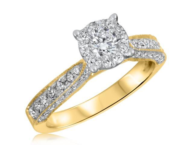 7/8 CT. T.W. Diamond Ladies Engagement Ring 14K Yellow Gold- Size 7