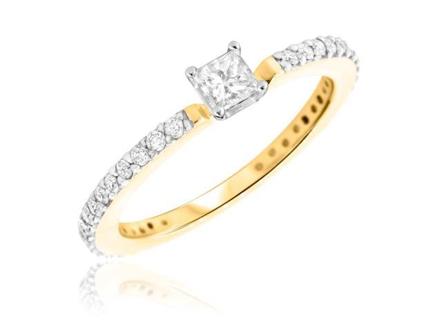 1/2 CT. T.W. Diamond Ladies Engagement Ring 14K Yellow Gold- Size 4.25