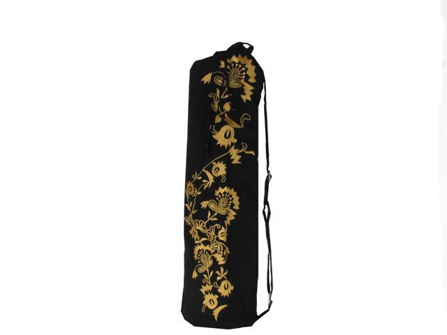 Yoga Mat Bag With Gold Flower Embroidery