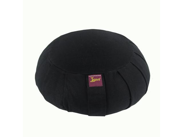 Round Cotton Zafu Cushion for Yoga & Meditation (Black)