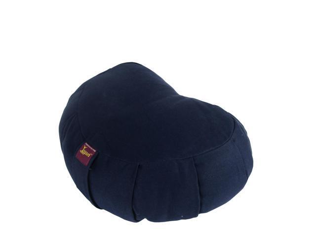 Crescent Cotton Zafu Cushion for Yoga & Meditation (Blue)