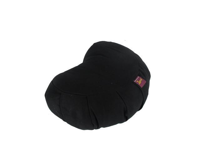 Crescent Cotton Zafu Cushion for Yoga & Meditation (Black)