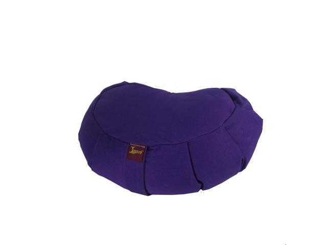 Crescent Cotton Zafu Cushion for Yoga & Meditation (Purple)