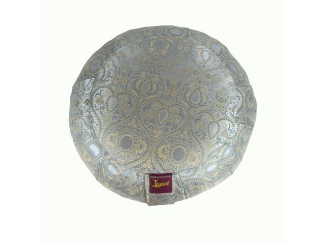 Round Zafu Cushion with Silk Jacquard Cover (Grey)