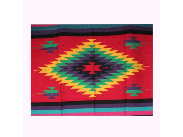 Hand Woven Bright Diamond Pattern Mexican Blankets