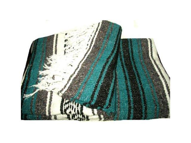 Traditional Handwoven Deluxe Mexican Blanket (Teal)