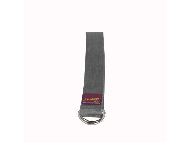 D-Ring Buckle Cotton Yoga Strap (Grey) (8 Feet)