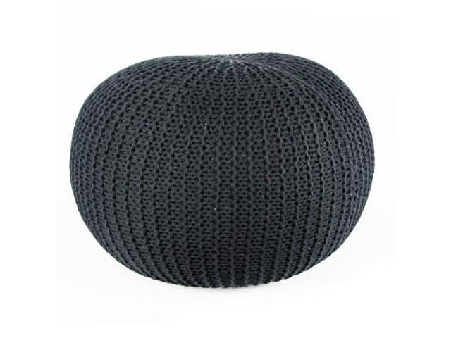 Hand Knitted Black Cotton Yarn Pouf
