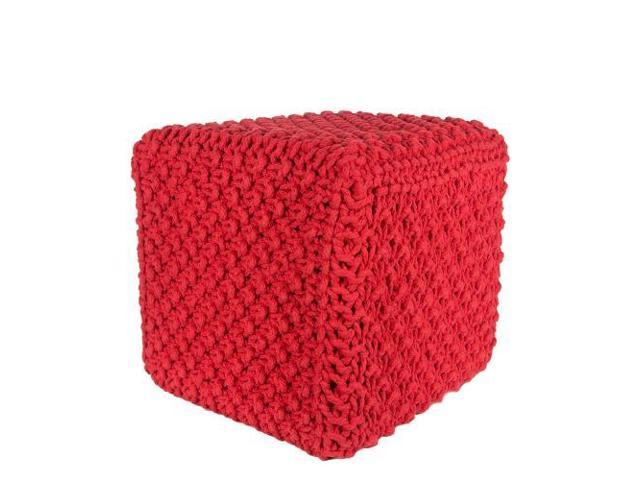 Red Cotton Hand Knitted Rope Weave Square Pouf