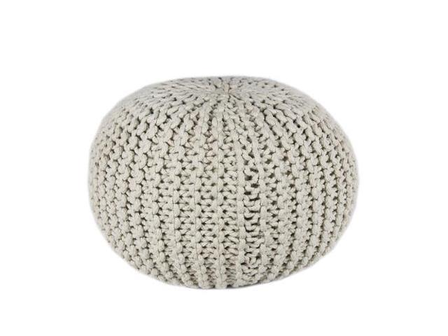 Hand Knitted White Cotton Rope Pouf
