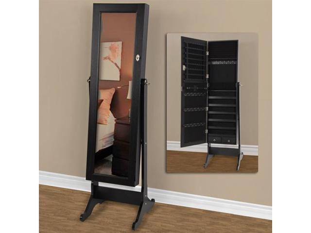 full length mirror with jewelry storage mirrored jewelry cabinet armoire w stand mirror rings. Black Bedroom Furniture Sets. Home Design Ideas