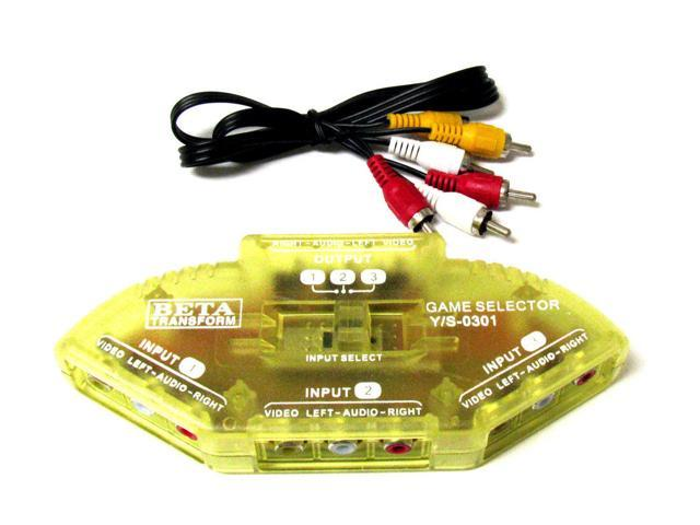 New 3Way Audio Video AV RCA Yellow Switch Box Splitter Neweggcom
