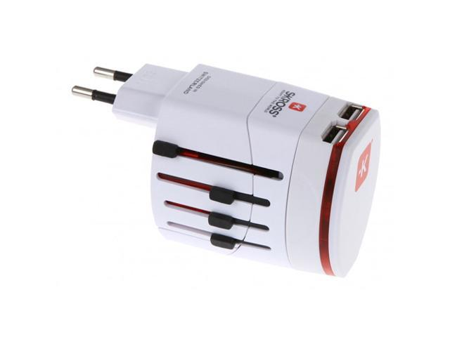 Skross World Travel Adapter 2 with Dual USB Charger. Swiss Designed For Safety and Quality. Charge iPads, iPhones, iPods, Blackberrys and Other USB Devices in Over 150 Countries