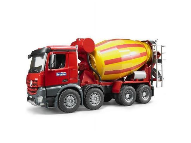 Mercedes benz cement mixer truck red yellow vehicle toy for Mercedes benz truck toys