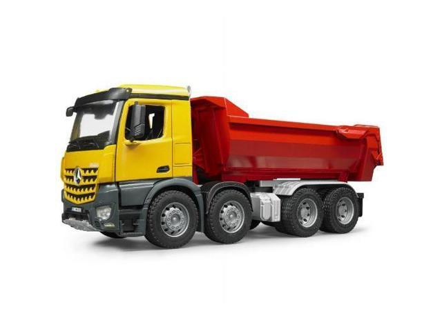 mercedes benz halfpipe dump truck red yellow vehicle toy