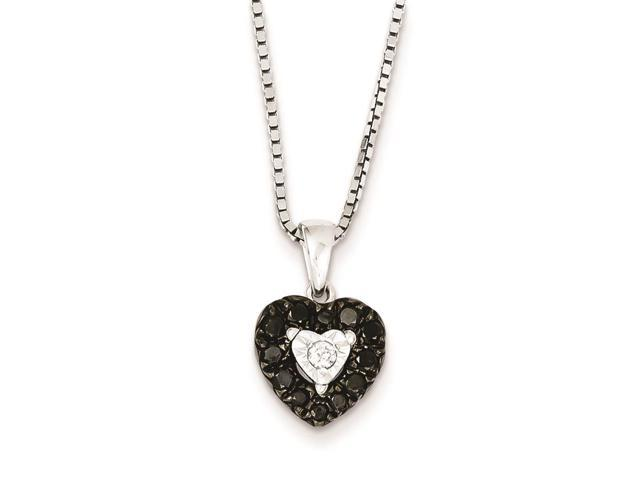 Sterling Silver Black and White Diamond Heart Pendant Necklace Newegg