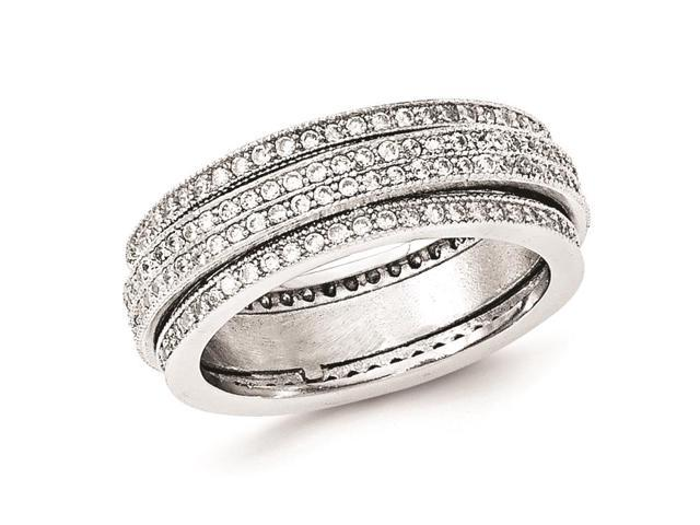 sterling silver polished rhodium plated pave eternity