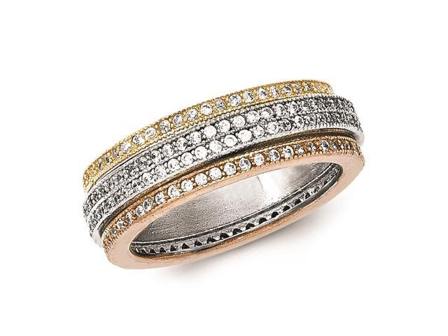 sterling silver polished tri color pave eternity motion