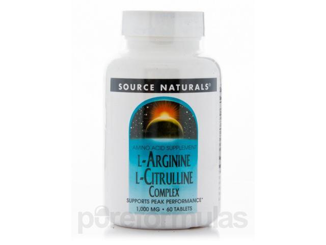 L-Arginine L-Citrulline Complex 1000 mg - 60 Tablets by Source Naturals