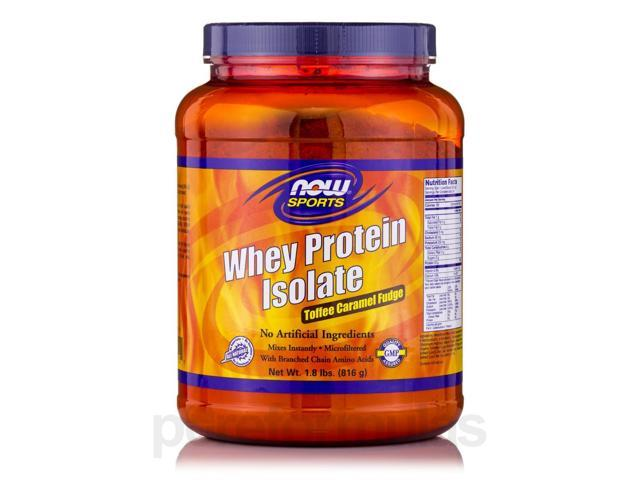 NOW? Sports - Whey Protein Isolate Toffee Caramel Fudge - 1.8 lbs (816 Grams) by
