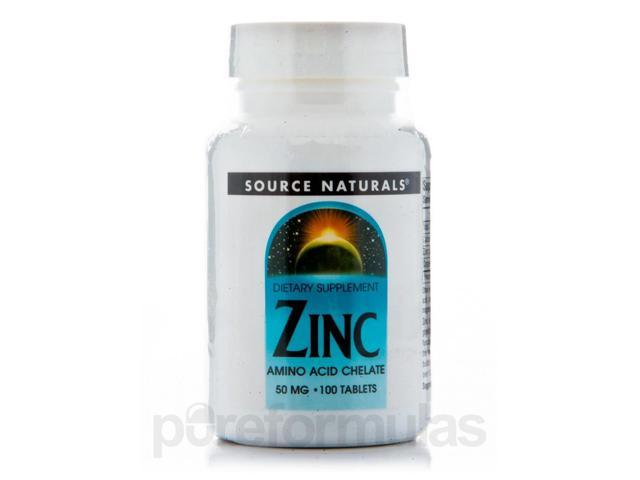 Zinc Chelated 50 mg - 100 Tablets by Source Naturals