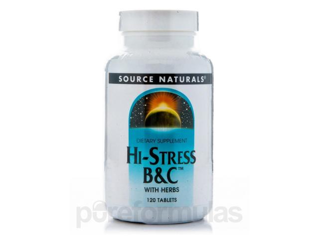 Hi Stress B&C with Herbs - 120 Tablets by Source Naturals